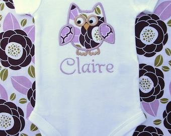 Personalized Purple Owl Bodysuit -Personalized Embroidered Owl Bodysuit - Baby Girl Bodysuit - Infant Bodysuit- Applique Owl Bodysuit