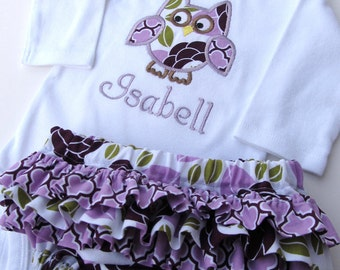 Personalized Owl  Bodysuit and Diaper Cover Set- Personalized Embroidered Purple Owl Bodysuit Set-Personalized Embroidered Owl  Bodysuit