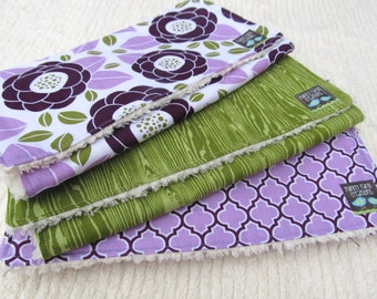 Chenille Burp Cloths Set of 3- Burp Cloth Set-