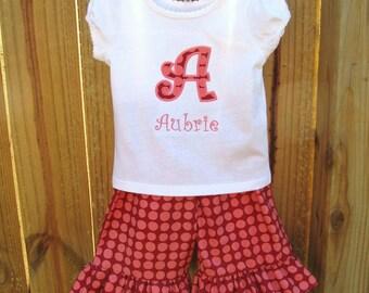 Personalized Ruffled Capri Pants and Shirt set- Ruffled Pants Set- Applique Shirt/Pants set- Amy Butler Sun Spots
