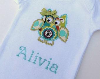 Personalized Owl Bodysuit-Personalized Embroidered Owl Bodysuit- Baby Girl Bodysuit- Infant Bodysuit- Applique Owl Bodysuit