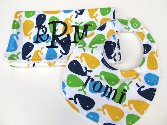 Personalized Bib and Burp Cloth Set- Baby Bib set- Baby Bib and Burp Cloth-  Whales in Bright Bib/Burp Cloth set-Personalized- Any Fabric