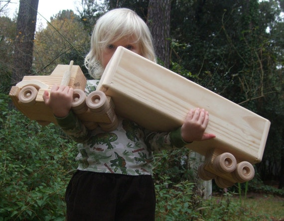 Wooden Truck Boy Toy Open Top Box Hauler