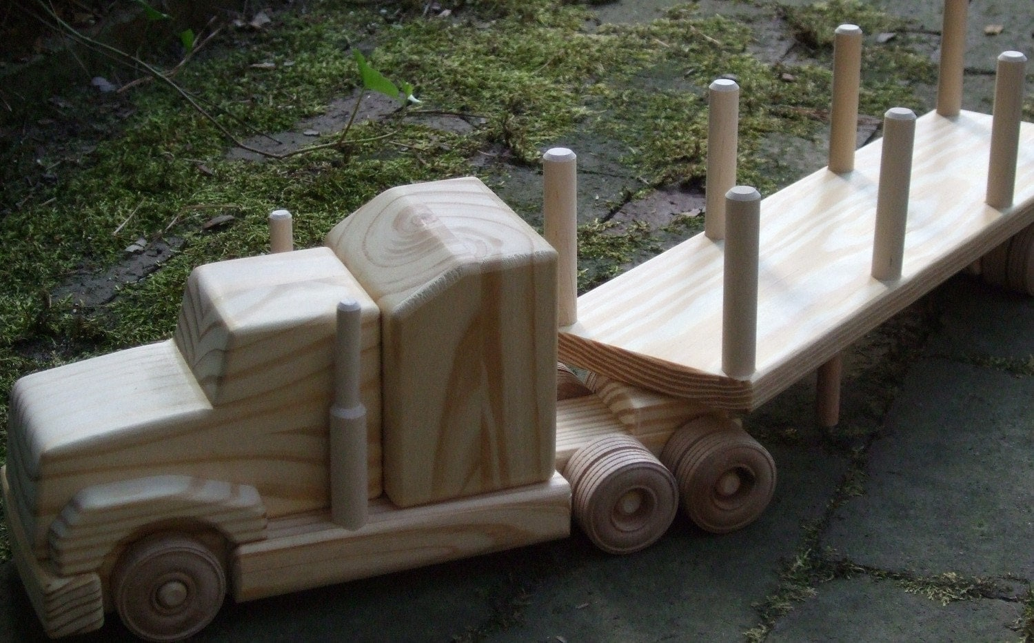 Wooden Toy Truck log hauler with sleeper cab by MyFathersHandsLLC