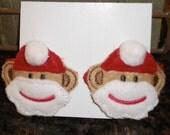 Hair Clips, Sock Monkey Santa, Felt Hair Clips,  Great Stocking Stuffer
