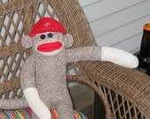 Sock Monkey with Personalized  Baseball Cap-sports team, name, etc