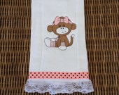 Embroidered Baby Burp Cloth, Burp Rag, Choice of Sock Monkey Design and Personalized