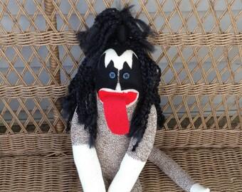 Sock Monkey Doll, KISS, Gene Simmons Inspired