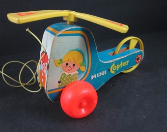 vintage 1970 fisher price pull toy, mini copter