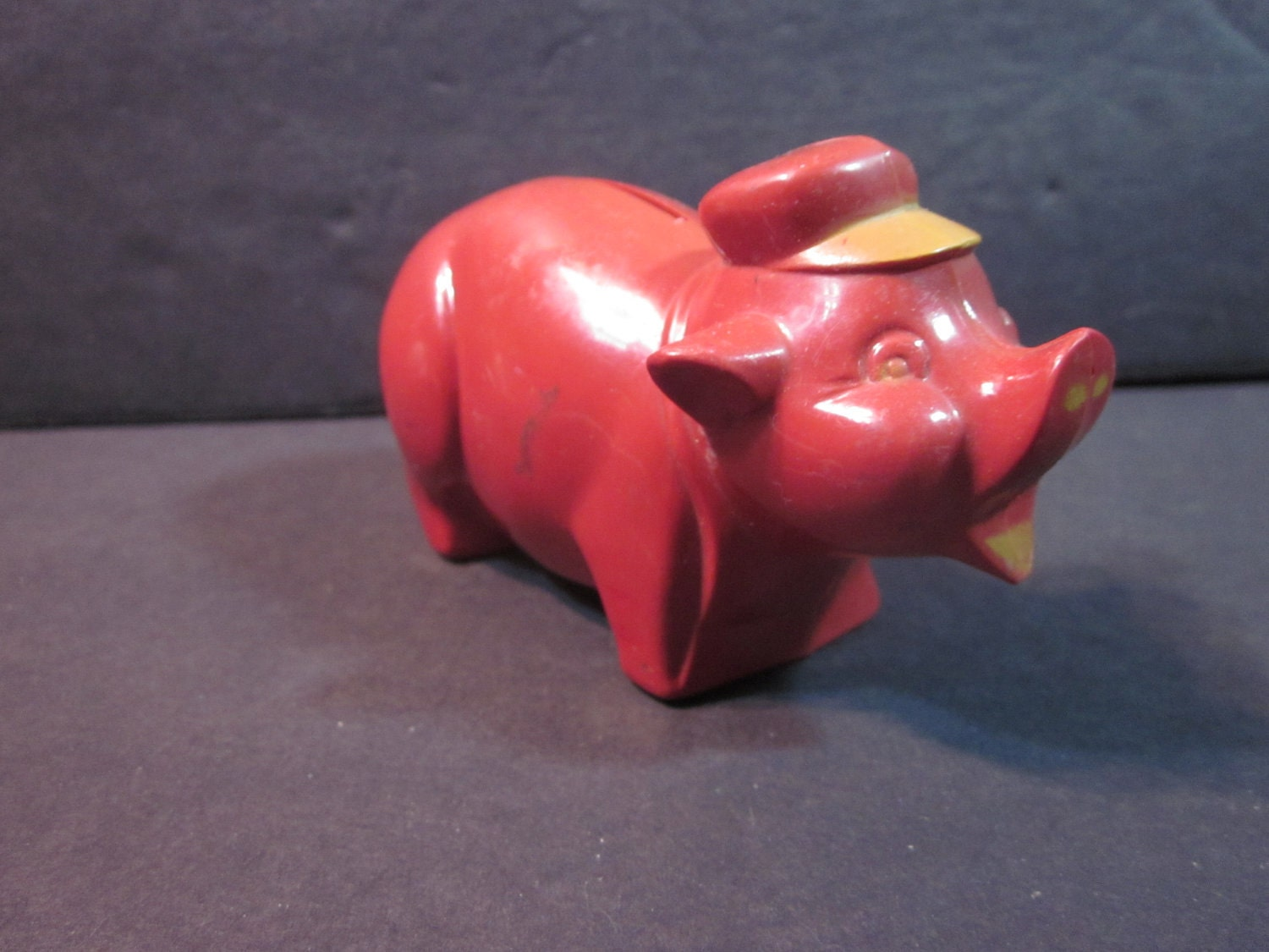 Vintage red plastic still piggy bank pig with hat by njdigfinds - Resin piggy banks ...