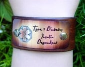 Medical Alert  leather bracelet custom / Free Shipping in the USA & Canada