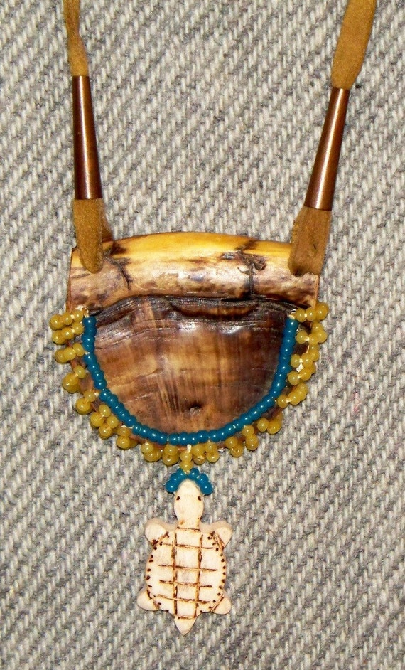 Primitive mountain man beaded turtle amulet totem necklace of for Real tortoise shell jewelry