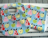 Apples and Pears Bib and Burp Set