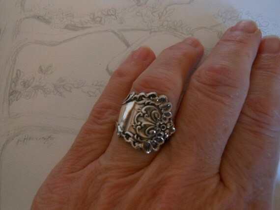 To The Point  Antique Sterling Silver Spoon Ring size 8 and a half