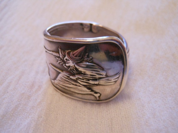 Salem Witch  Antique Sterling Silver Spoon Ring size 8