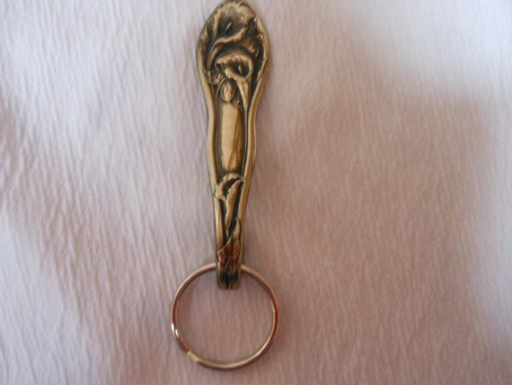 Trio of Calla Lilies  Antique Spoon Keychain