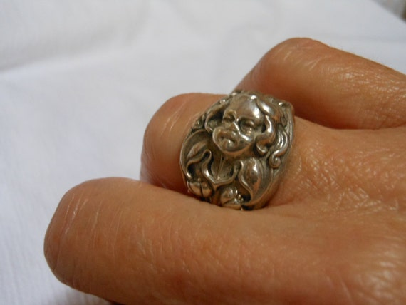 The Littlest Angel  Antique Sterling Silver Spoon Ring size 7 and a half