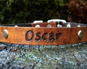 Leather Dog Collar - Custom Distressed with Engraved Name