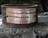Soul Mates Distressed Secret Message Leather Cuff - Morse Code