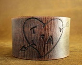 Lovers Forever Tree Carving Leather Cuff