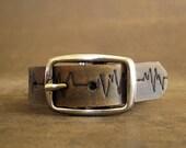 Heartbeat Lifeline Cuff on Distressed Dark Brown Leather