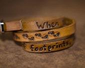 Footprints Quote on Double Wrap Leather Bracelet in Walnut