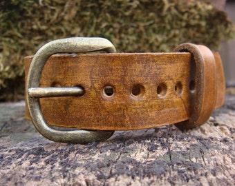 Distressed Leather Adjustable Vintage Belt Buckle Cuff