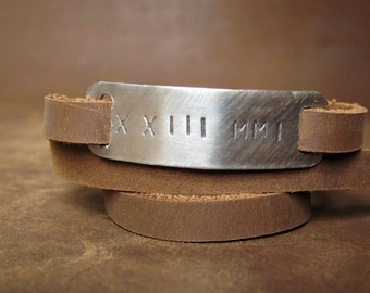 Roman Numeral Special Date Adjustable Ultra Long Leather Wrap Bracelet