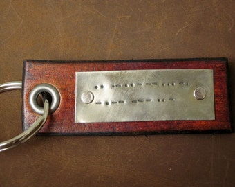 Personalized Leather Key Chain Accessory, Anniversary Gift, Custom Keychain, Wedding Gift, I Love You Custom Morse Code Leather Tag Keychain