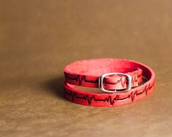 HeartBeat Ultra Long Leather Wrap Bracelet in Red