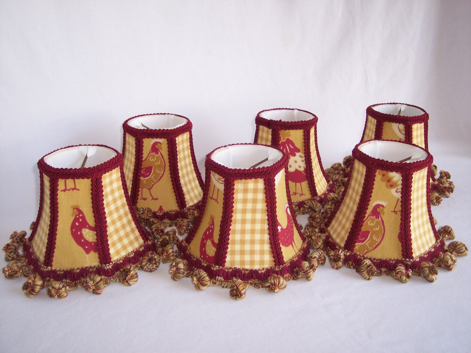 French Country Roosters Chandelier Shades Set of 5 SOLD – Rooster Chandelier
