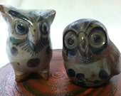Beautiful Pair of vintage Mexican Tonala art  owl figurines made in Mexico