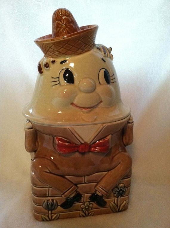 Humpty Dumpty Cookie Jar Ceramic Vintage Japan