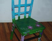 Spring Flowers and Butterfly Hand Painted Chair