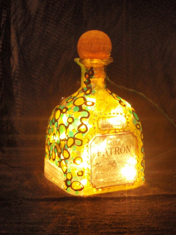 Patron Liquor Bottle Light Hand Painted
