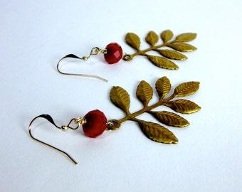 SALE -- Leaf Branch Dangles -- Gold Branch Earrings -- Beaded Leaf Earrings -- Brass Leaf Earrings -- Leaf Dangles -- Red & Gold Earrings