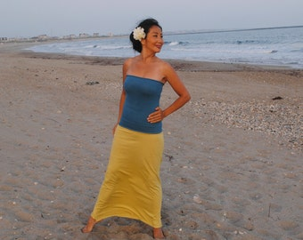 Hand Dyed Organic Clothing - Tube Top (super stretch hemp  orgnaic cotton)