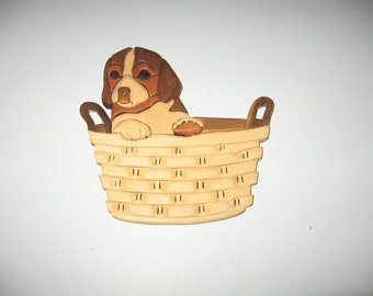 Puppy in a Basket, handmade, wood art, wallhanging