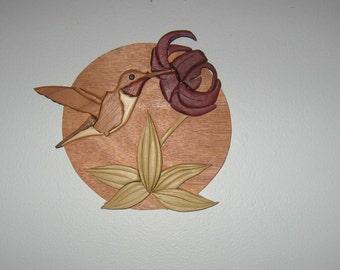 hummingbird, handmade, intarsia, wood art, wall hanging