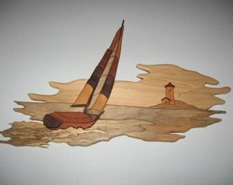 Handmade, intarsia wood art, seascape wall hanging