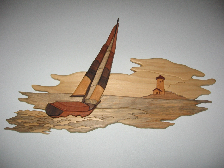 Ship at Sea handmade intarsia wood art wall hanging by ...