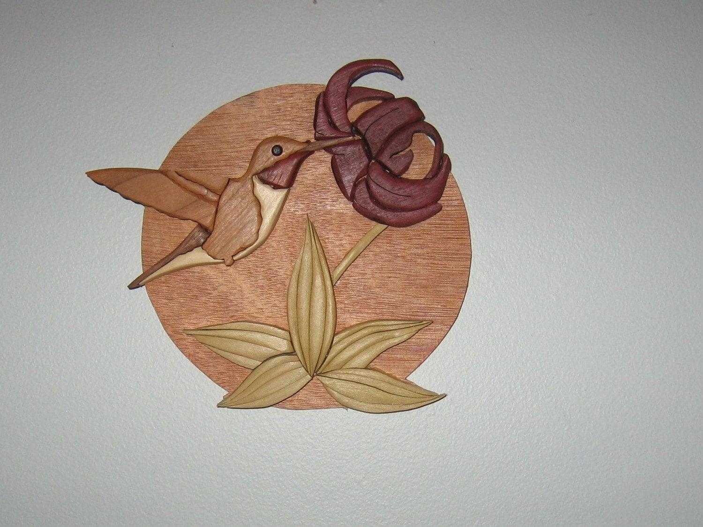 Hummingbird Handmade Intarsia Wood Art Wall Hanging