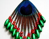 Natural Peacock feather beaded earrings, green, red, Blue, Black, Peacock Eye, Handmade Jewelry by BoutiquePeony on Etsy