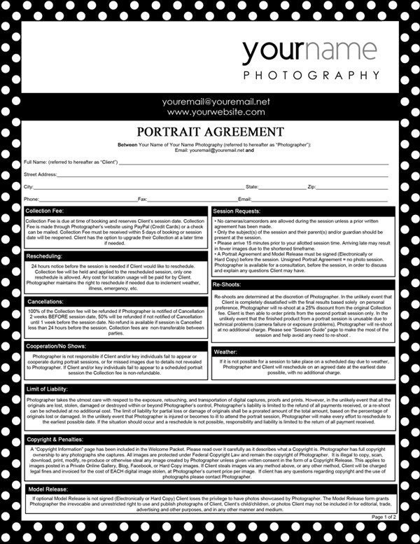 Photography Forms Portrait Agreement Contract and Model