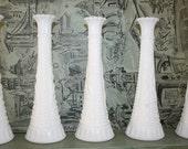 Set of 5 Vintage Milk Glass Bud Vases