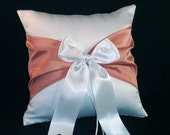 White or Ivory Wedding Ring Bearer Pillow  Coral Accent
