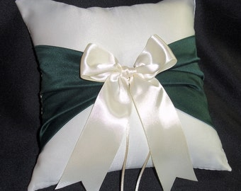 Ivory or White  Wedding Ring Bearer Pillow Hunter Holly Green Accent