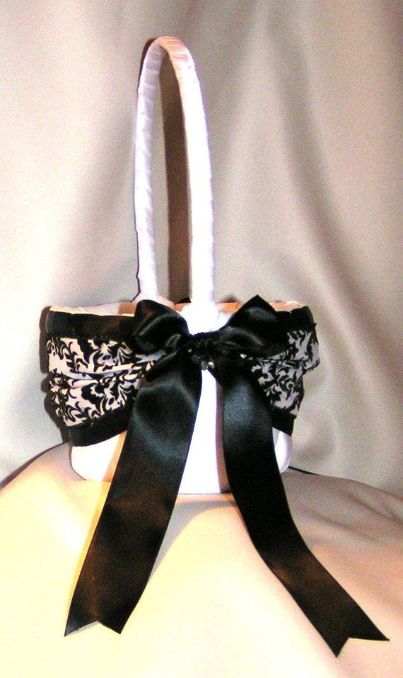 DAMASK Black and White Wedding Flower Girl Basket