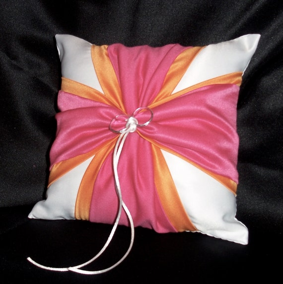 White or Ivory  Wedding Ring Bearer Pillow Tangerine Orange Fuchsia Pink