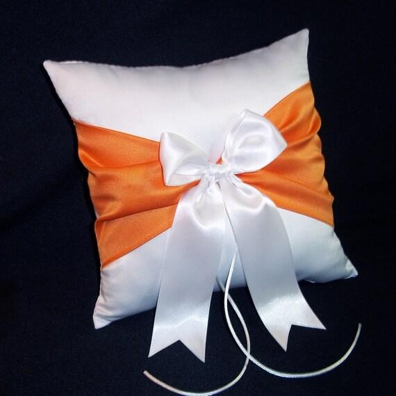 White Or Ivory Wedding Ring Bearer Pillow Tangerine Orange